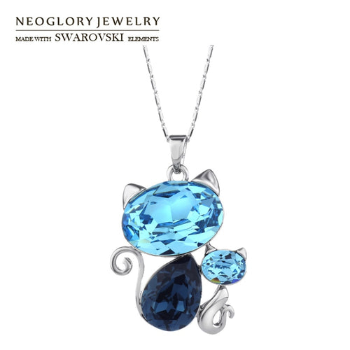 Neoglory Crystal Long Charm Necklace Blue Cute Lovely Cat Design For Women Trendy Embellished With Crystals From Swarovski