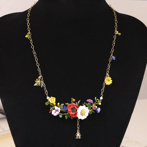Juicy Grape New Plants Series Red Rose Daisy Gilded Ladybug Crystal Necklace Fashion Jewelry Women Gift Free Shipping