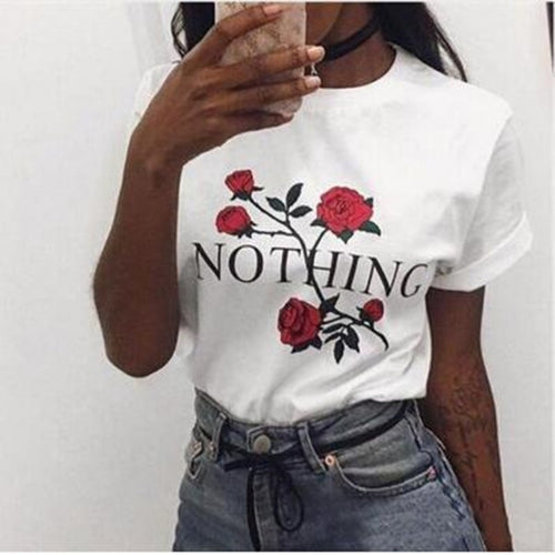 Nothing Letter Rose Print Female T Shirt Harajuku T-Shirts Women New Summer Short Sleeve Casual Clothing Punk Tee Tops