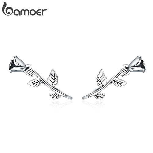 BAMOER Authentic 100% 925 Sterling Silver Rose Flower Plant Stud Earrings for Women Sterling Silver Jewelry Mom Gift SCE380