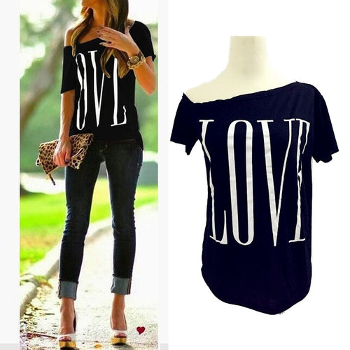 LOVE Letters White Tees Tops 2019 New Summer Womens Ladies Casual Fashion Slash Neck Off-shoulder Short Sleeve T-shirts