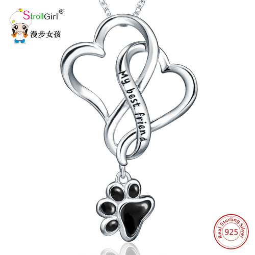 Freeshipping 925 Sterling Silver Chain Pendant Necklace Fashion Jewelry Dog Paw with Love Heart Necklaces & Pendants For Women