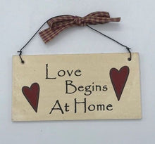 "Load image into Gallery viewer, Rustic ""Love Begins at Home"" sign hanging home decor"