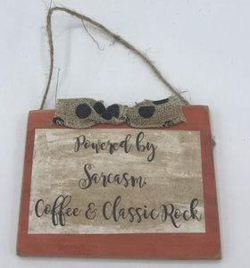 "Handmade, Wooden ""Powered by Sarcasm"" Sign Rustic, Farmhouse Decor"