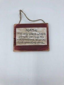 "Handmade, Wooden ""Math"" Rustic, Teaching Decor, Funny Gift"