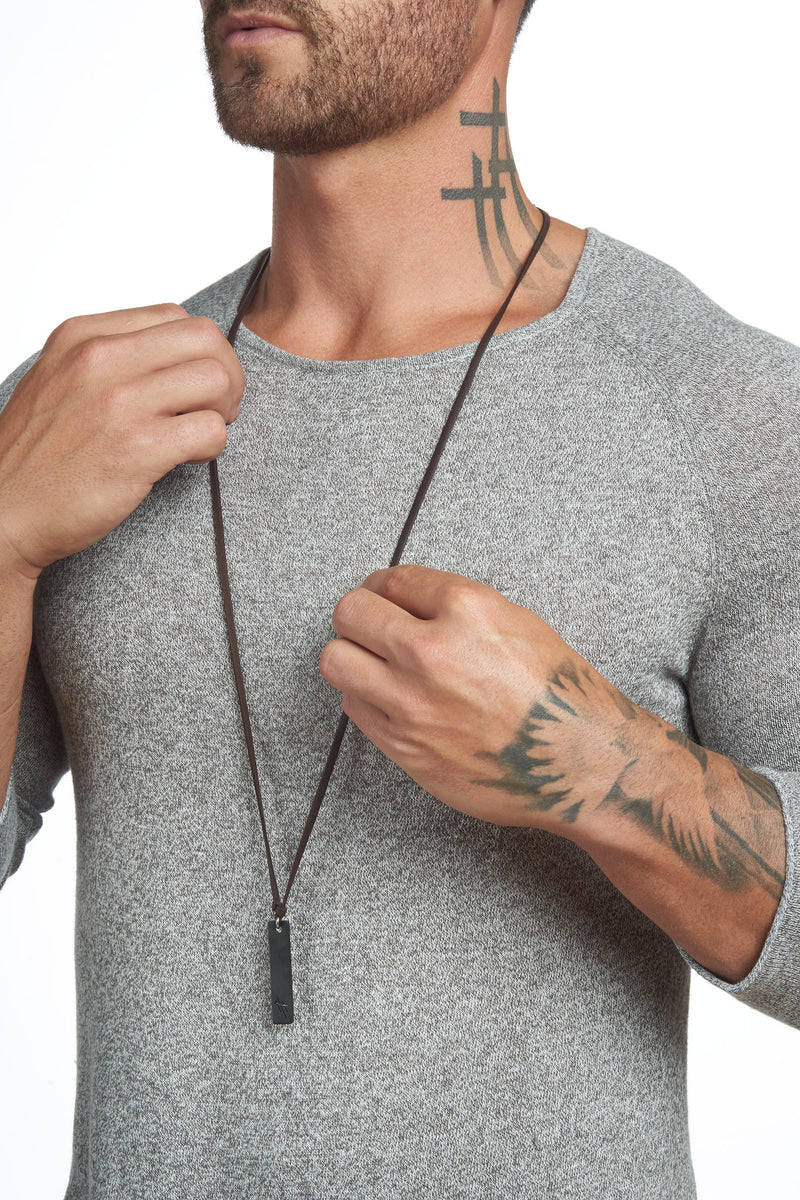 Reversible Stainless Steel Pendant Leather Necklace - weston-jon-boucher