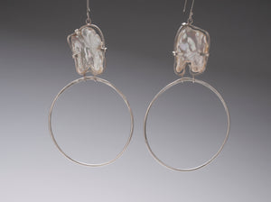 KESHI PEARL STERLING HOOPS