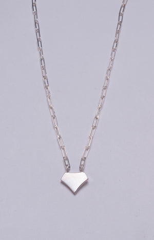 SHIELD NECKLACE IN 14 KARAT WHITE GOLD