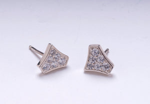 DIAMOND SHIELD STUD EARRINGS 14 KARAT WHITE GOLD