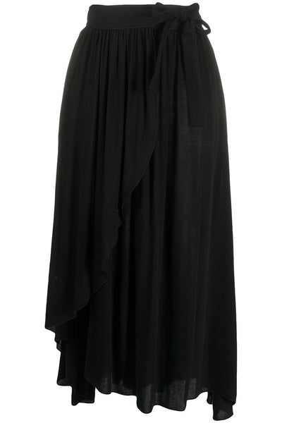 Fluid Gauze Wrap Skirt Black