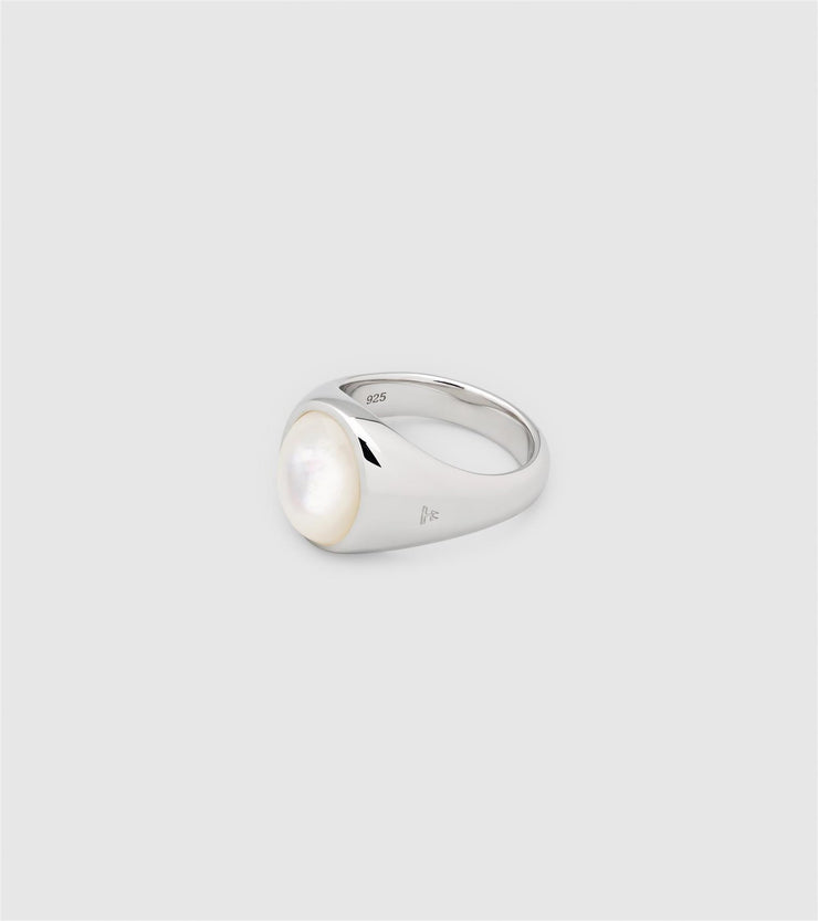 Dome Ring White Mother of Pearl