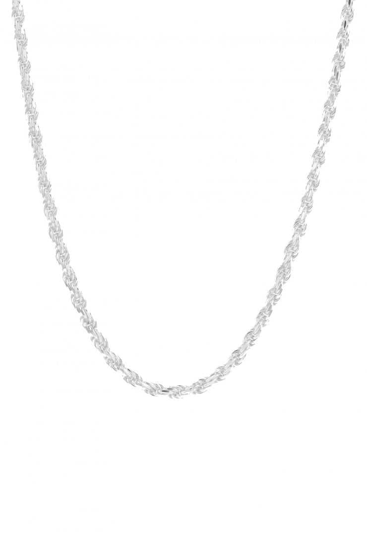 Rocks Rope Necklace Silver