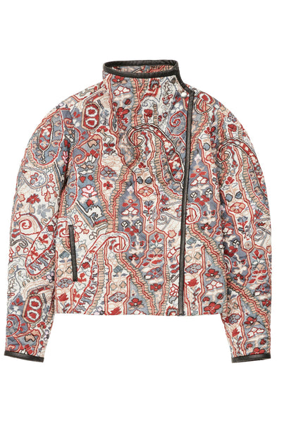 Jenolia Printed Satin Quilted jacket Chalk