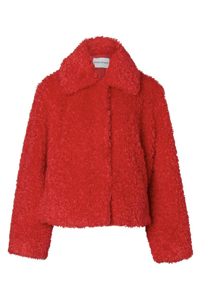 Marcella Faux Fur Jacket Red