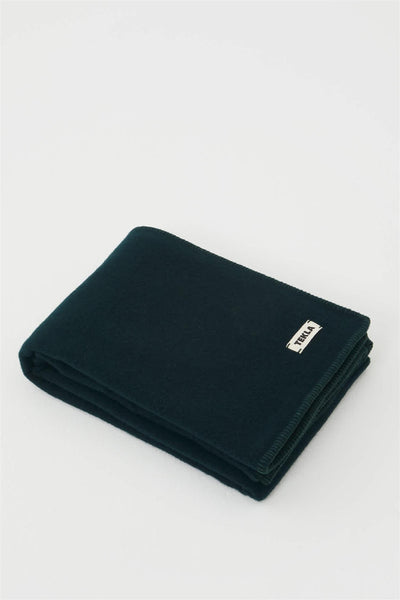 Pure New Wool Blanket 130 x 180 cm. Solid Dark Green