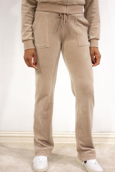 Del Ray Luxe Velour Pant Warm Taupe