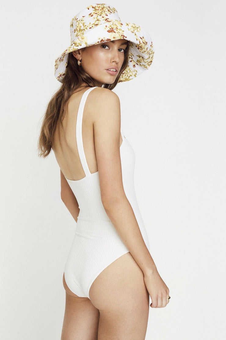 Phoebe One Piece Plain White Ribbing