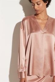 V-Neck Popover Silk Blouse Petals Still