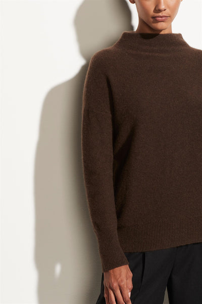 Boiled Cashmere Funnel Neck Pullover Heather Brownstone