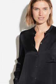 Slim Fitted Satin Band Collar Blouse Black