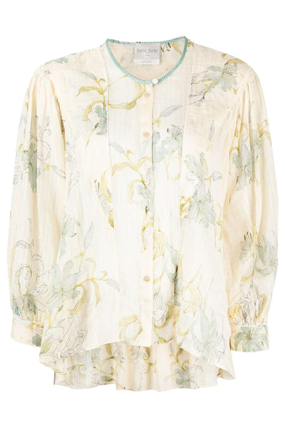 Gelsomnia Print Check Voile Bohemian Shirt Ivory