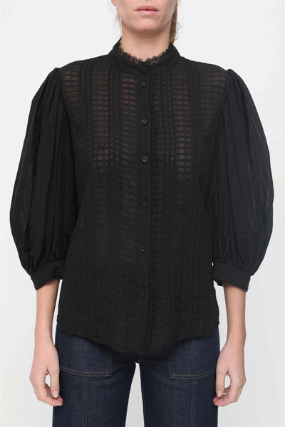 Puff-Sleeve Blouse Black