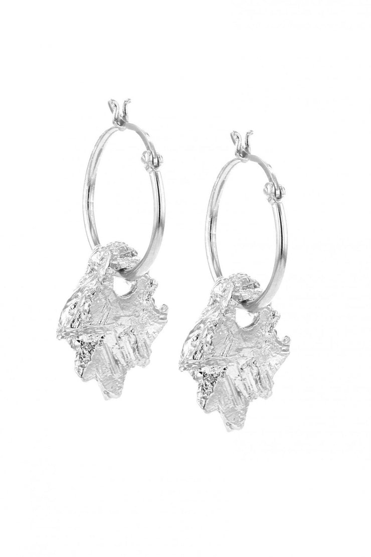 Rocks Hoop Earrings Silver