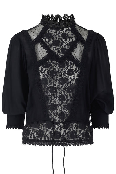 Elegant Lace Vintage Blouse Black