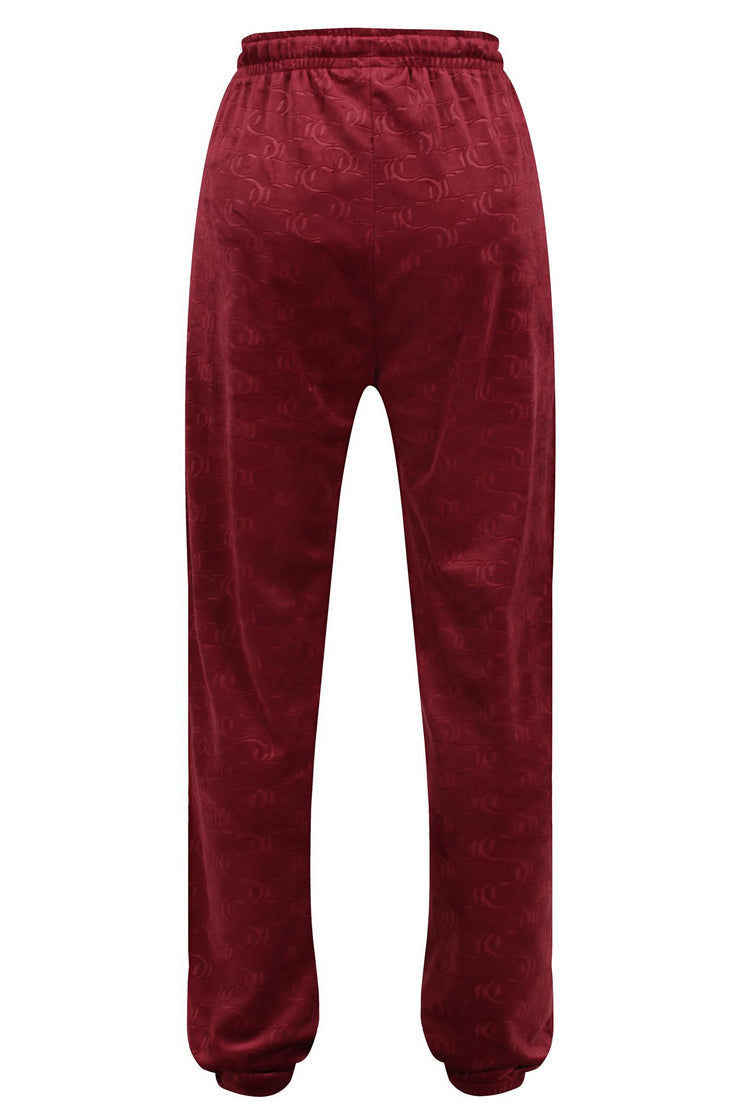 Lilian Classic Embossed Velour Track Pant Cabernet