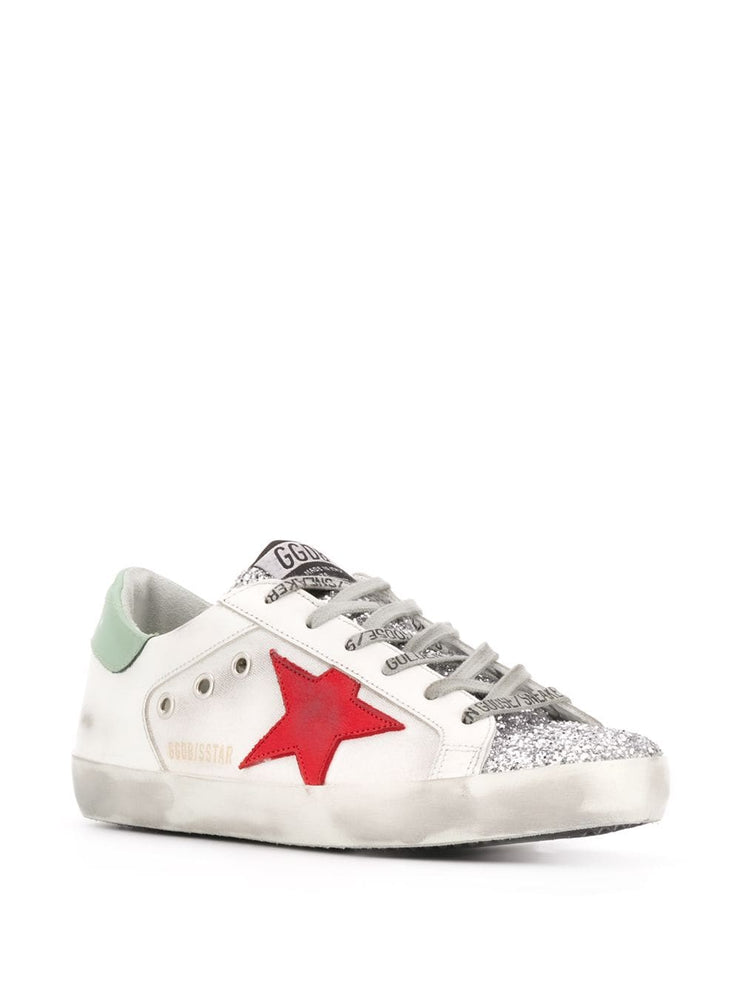 Superstar Sneakers Silver Glitter Upper Red Star V42