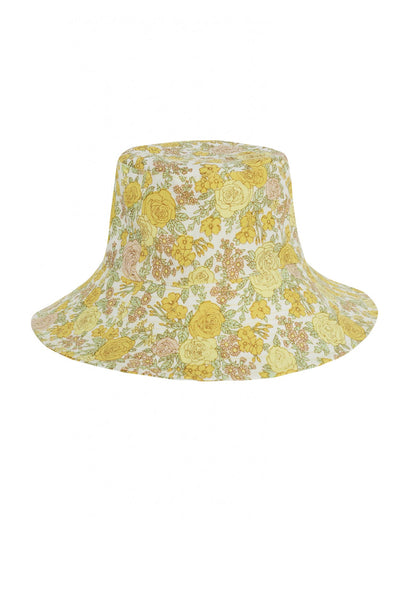 Bettina Bucket Hat Grey Garden Floral Print