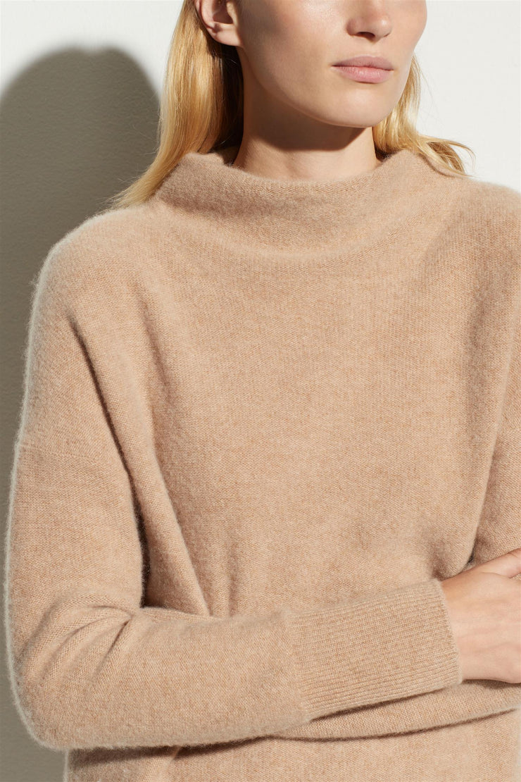 Boiled Cashmere Funnel Neck Pullover Heather Desert Clay