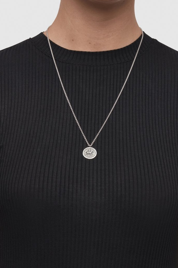 Coin Pendant Long Silver