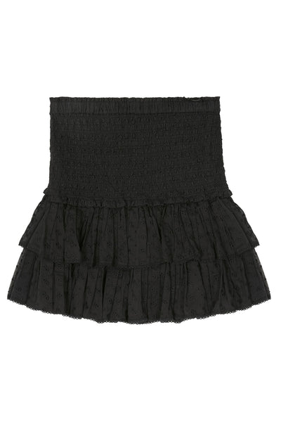 Tinaomi Embroidered Cotton Skirt Black