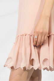 Pleated Frill Dress Smoky Pink