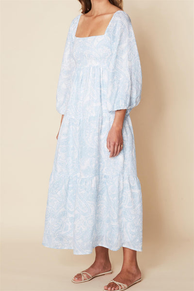 Alison Midi Dress Faye Paisley Print Powder Blue