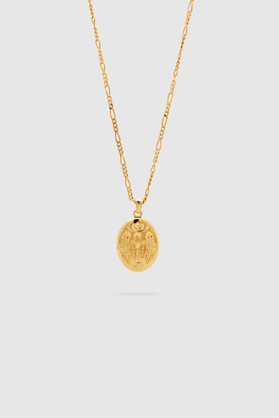 Feather Locket Gold 46 cm