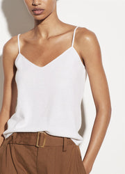 Cashmere Crochet Strap Tank Optic White