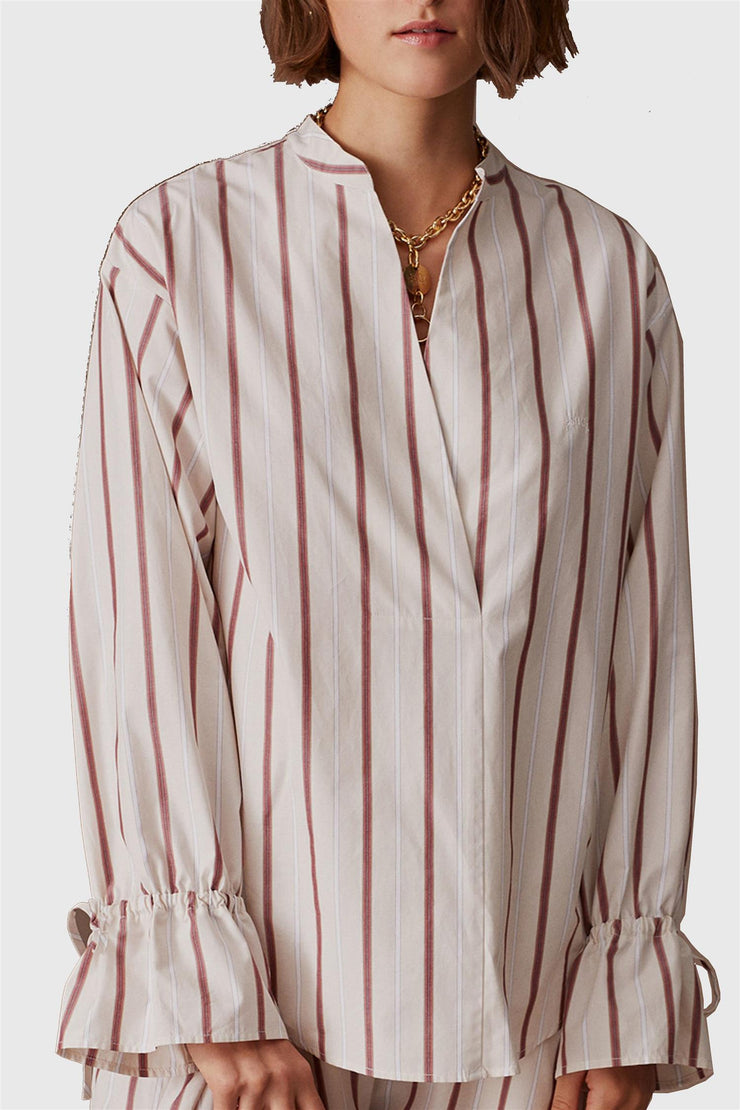 Striped V-neck Poplin Shirt Red/Beige