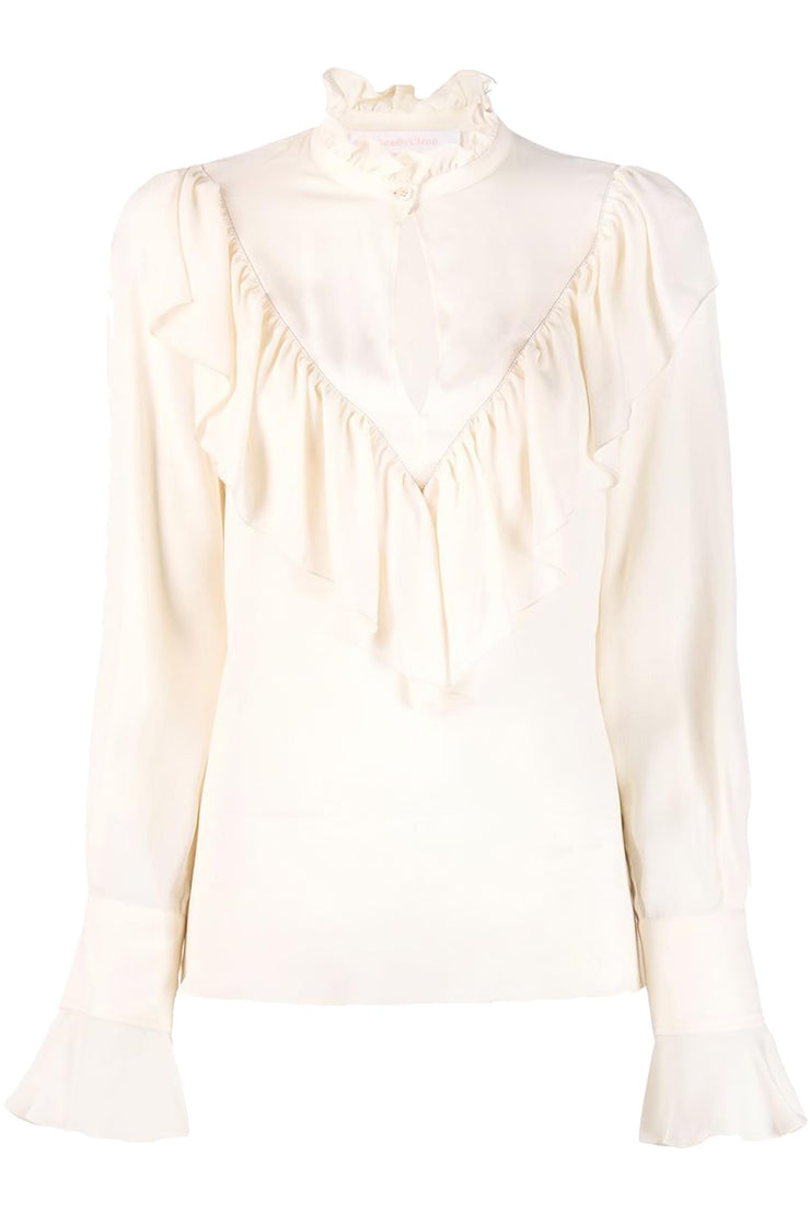 Blouse with V-frill Pearl Ivory