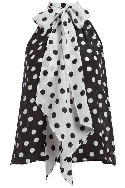 Liana Bow Neck Top Polka Dots