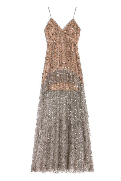 Leaf Sequin Ruffle Maxi Dress Light Grey