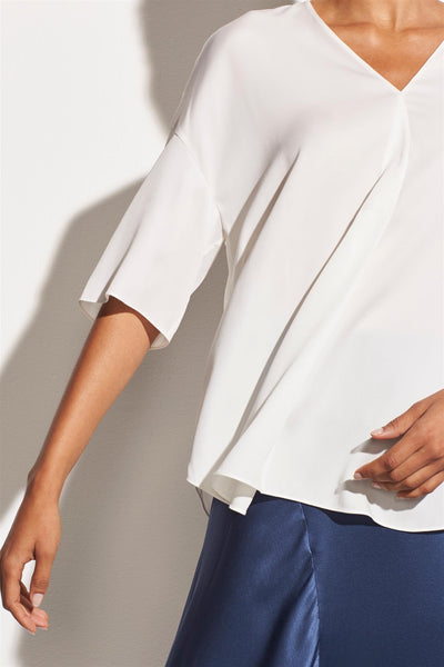 Satin V-Neck Popover White