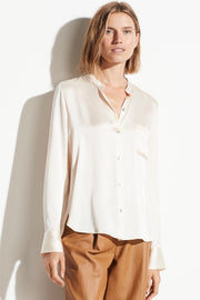 Slim Fitted Satin Band Collar Blouse Chiffon