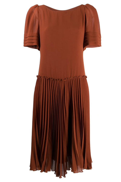 Pleated Round Neck Dress Sepia Brown