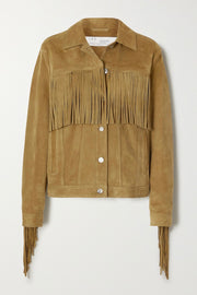 Russel Fringe Leather Jacket Khaki