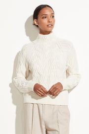 Cashmere Twisted Cable Turtleneck Off White