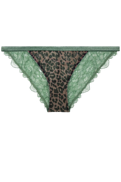 Wild Rose Brief Green Leopard