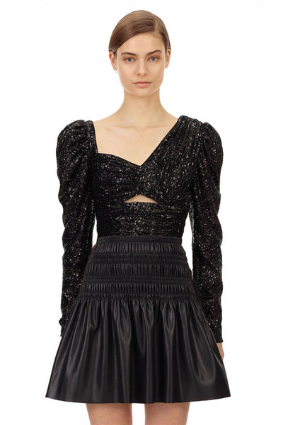 Black Sequin Asymmetric Top