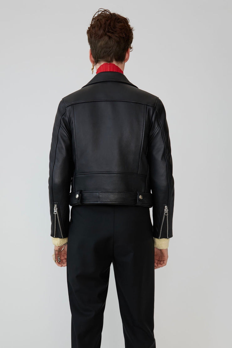 Mock Motorcycle Jacket Black